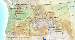Cascade Mountains Map Northwestern Us Physical Map