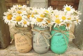 jar vases jars painted jars flower vases rustic wedding decor