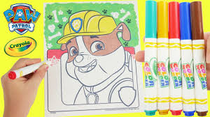 paw patrol crayola magic markers and rubble coloring page learn
