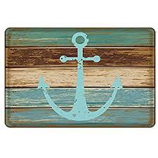Turquoise Bathroom Rugs Amazon Com Bathroom Rug Uphome Vintage Retro Nautical Anchor