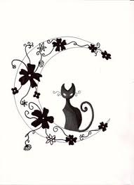 cat with moon flowers design tattoos book 65 000