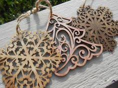 set of three ornaments laser cut by finegrained