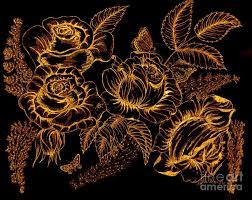 golden roses golden drawing by sylvie leandre