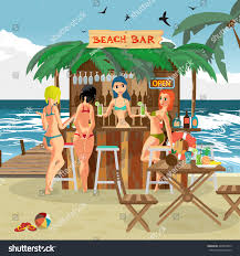 bar bungalows bartender woman three visitor stock vector 429809875
