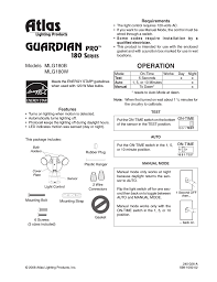 atlas guardian pro mlg180b user manual 8 pages also for
