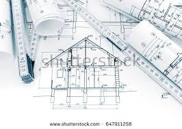 blue prints house rolls technical drawings plans blueprints house stock photo