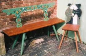 Farm Benches - carved painted eighteenth century german and polish farm benches