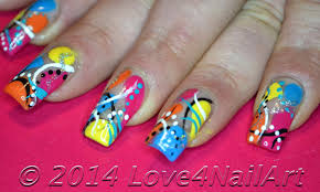 super colorful love4nailart super fun and colorful abract nail art design idea
