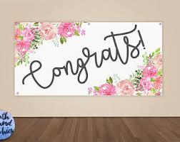 wedding congratulations banner congratulations banner floral congrats vinyl sign graduation