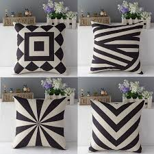 jeter un canapé vintage noir beige géométrique jeter taie d oreiller draps en coton