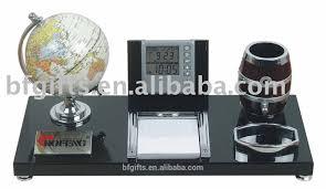 wooden desk sets pen holder clock calendar 09026 a2