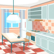 Kitchen Interior Pictures Kitchen Interior Photos Vector Illustration Of A Kitchen