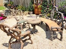 Concrete Patio Table Set Wood Cast Concrete Patio Furniture Set