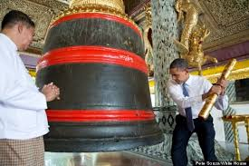 rings bell images Obama photo caption contest president rings a large bell huffpost jpg