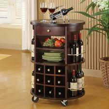 Kitchen Wine Cabinet Furniture Round Wine Rack With Wet Bar Cabinets And Potted Plants