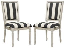 Black And White Striped Chair by Fox6229n Set2 Dining Chairs Furniture By Safavieh