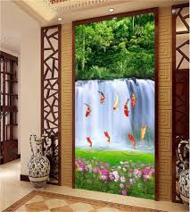 popular wall murals fish buy cheap wall murals fish lots from custom size photo mural living room porch 3d wallpaper fish waterfall forest landscape picture wall mural
