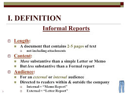 informal reports 2 definition and examples 3 i definition