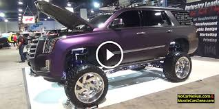 cadillac escalade lifted check out this gentle gaint from 2016 sema a purple cadillac
