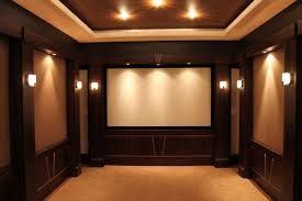 small home theater room ideas big screen on the beige wall long