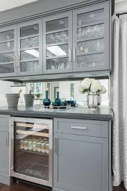Gray Bar With Mirror Backsplash Design Ideas - Bar backsplash