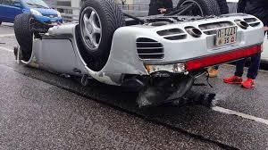 80s porsche 959 porsche 959 flips over in geneva after speeding on wet road