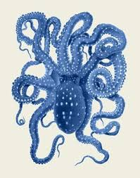 art deco octopus ring holder images Blue octopus on cream a by artist fab funky decorative painting jpg