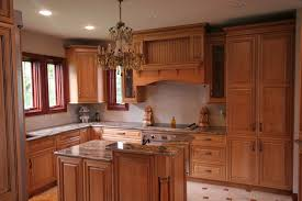 u shaped brown polished mahogany wood kitchen cabinet using white