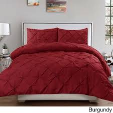 Burgundy Duvet Sets Luxury 3 Piece Pinch Pleat Duvet Cover Set Free Shipping On