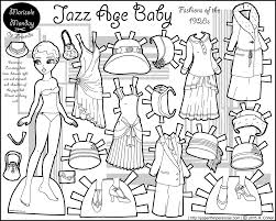 jazz age baby twenties fashion paper doll coloring page