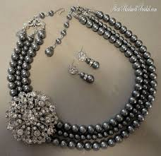 jewelry necklace pearl set images Grey pearl set google search jewelry pinterest beads jpg
