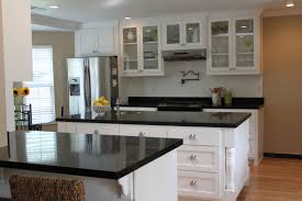 White Kitchen Black Island White Kitchen Cabinets Dark Granite Countertops Outofhome