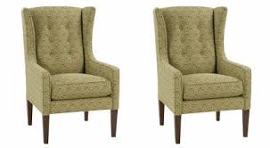 Upholstered Accent Chair Of Two Belinda Designer Style Fabric Upholstered Wingback Accent