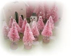 6 vintage style bottle brush trees pink purple forest