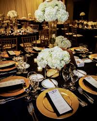 black and gold wedding table settings 4939