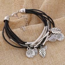 handmade charm bracelet images Minhin black brown beige colors multi layers leather bracelet jpg
