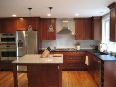Dark Cherry Kitchen Cabinets Kitchen Backsplash With Oak Cabinets And White Appliances My
