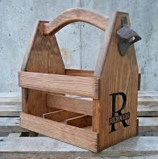 wood gifts for him wooden tote personalized tote carrier six pack home