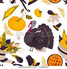 colorful seamless pattern thanksgiving symbols turkey stock vector