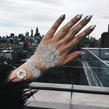 mykonos white and silver henna inspired temporary tattoos