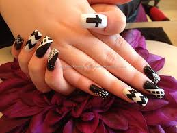 15 acrylic nails designs black and white black and white nail art