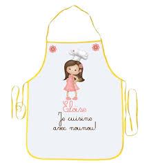 tablier cuisine fille tablier enfant je cuisine avec nounou personnalisé avec prénom