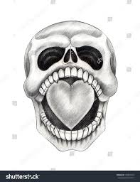 skull heart tattoo hand drawing on stock illustration 170870723