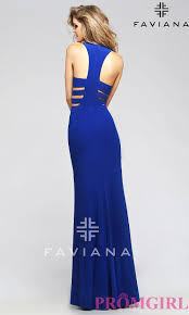 faviana blue side cut out prom dress promgirl