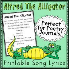 printable lyrics alfred the alligator printable song lyrics by miss vanessa tpt