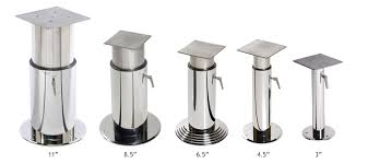 adjustable table base pedestal two stage crown ltd handcrafted yacht furniture