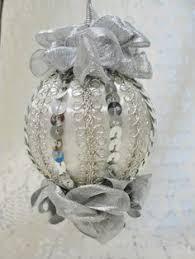handmade tree ornament pink white bows pearls ooak