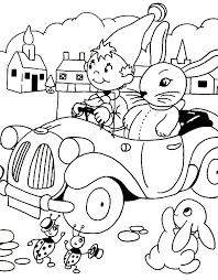 coloring noddy rabbit car picture