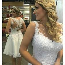 discount sale bling bling see through short 2017 wedding dress