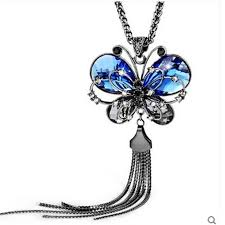 butterfly long chain necklace images New fashion women long chain butterfly necklace animal blue jpg